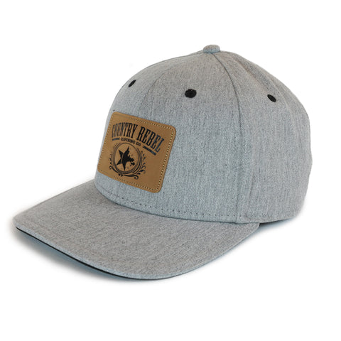 Country Rebel Snapback Heather Grey - Leather Patch