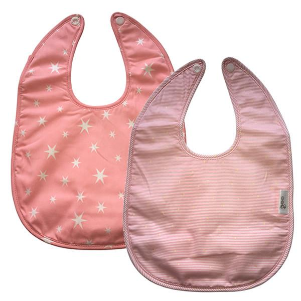 Goo Organic Cotton Baby Bib 2 Pack - Starry Night Pink / Summer Rain Pink
