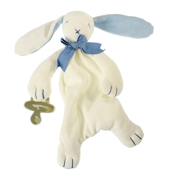 MaudnLil Organic Cotton Baby Comforter - Oscar the Bunny Blue and White - Front view