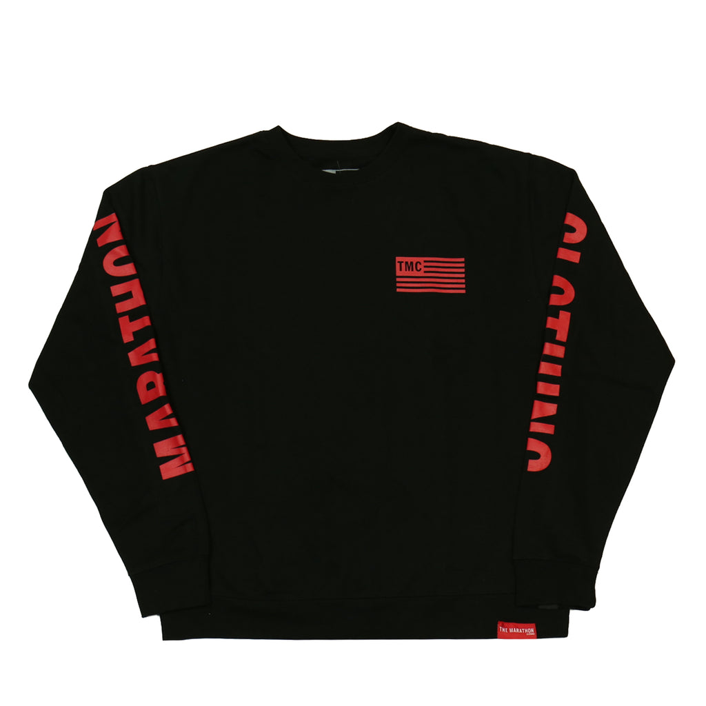 TMC Flag Sweatshirt - Black/Red [Printed Sleeves]