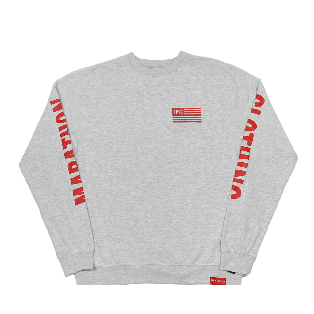 TMC Flag Sweatshirt - Heather/Red [Printed Sleeves]