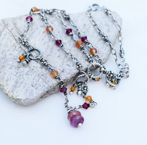 Ruby Gemstone Beaded Boho Style Necklace. Handmade Jewelry.