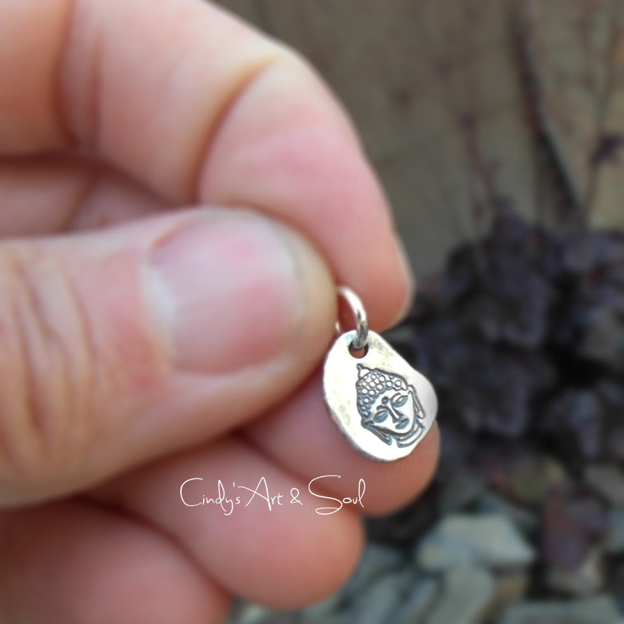 Buddha Silver Nugget Charm Dangle. Fine Silver Handcrafted. Recycled Silver.