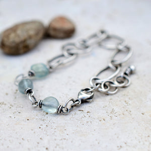 Blue Fluorite Gemstone Bracelet. Handcrafted Chain. Pure Fine Silver. 61518 Art & Soul Jewelry.