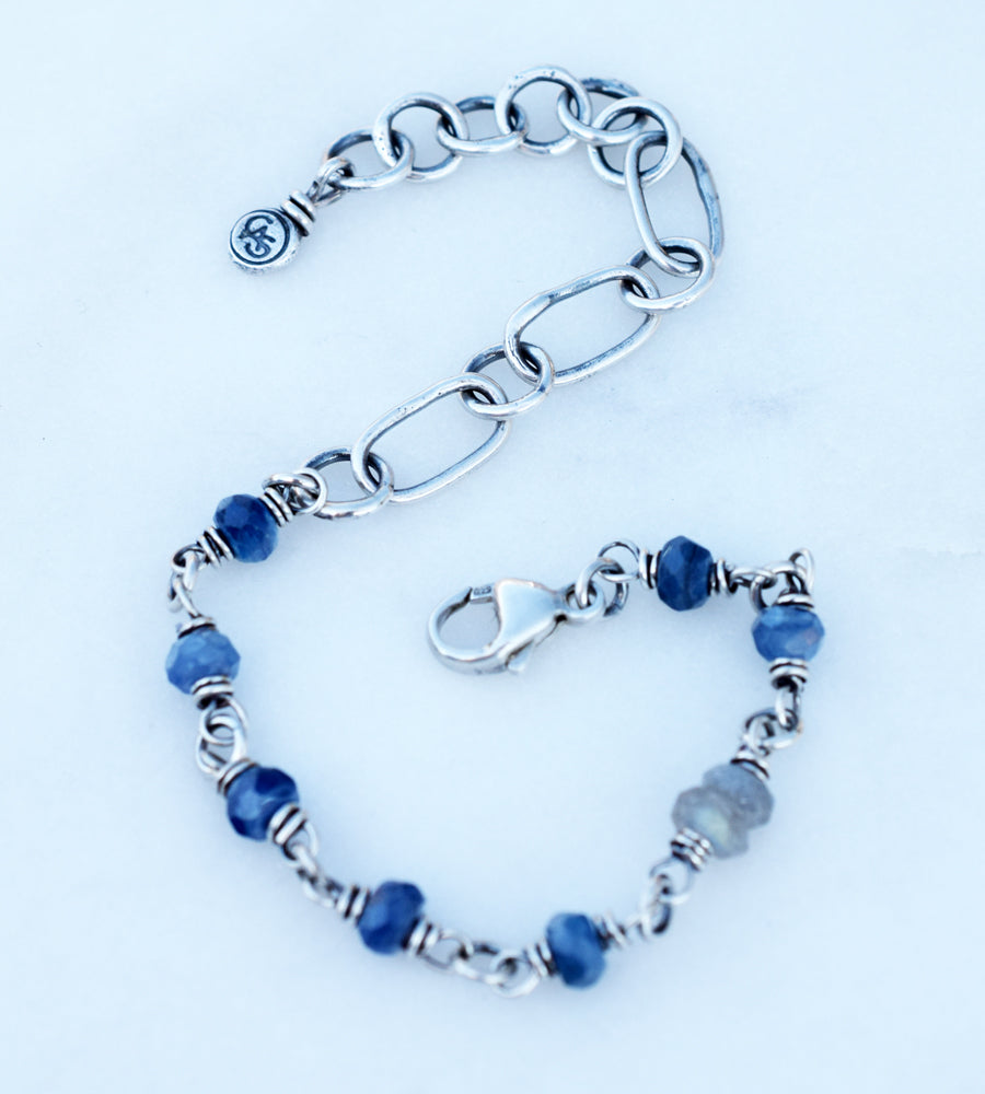 Blue Kyanite Beaded Gemstone Bracelet. Fine Silver Handcrafted Chain. 83209