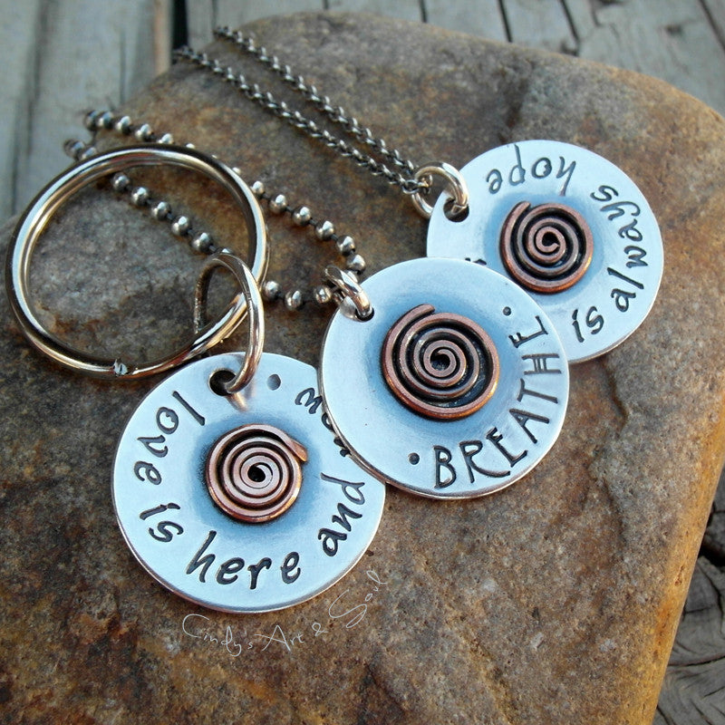 Personalized Spiral Charm Hand Stamped Silver. Cindy's Art & Soul