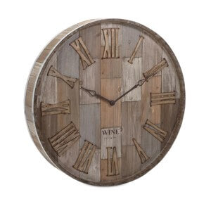 83457 Wine Barrel Wood Wall Clock