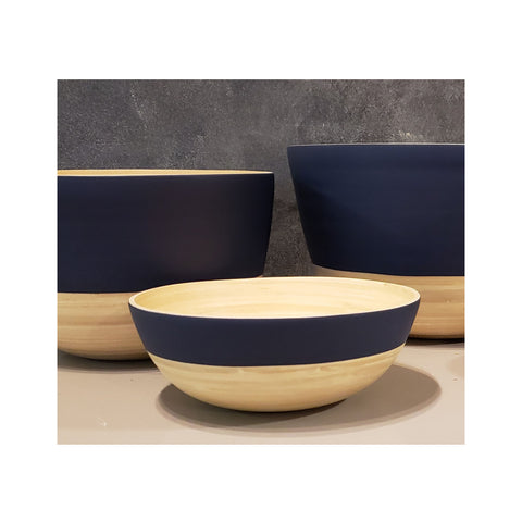 Spun Bamboo Two-Tone Bowls - Dark Blue - Medium
