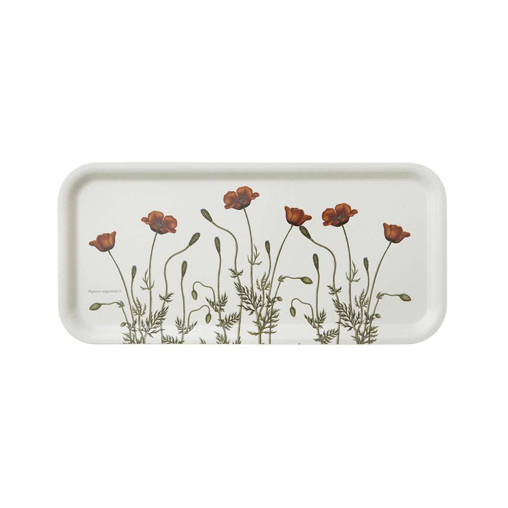 Birch Veneer Rectangle Serving Tray- Poppies