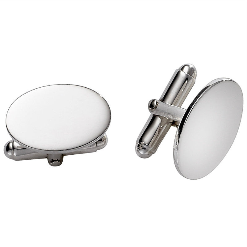 Small Sterling Silver Oval Cufflinks