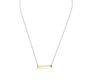 Engravable 14K Gold Bar Necklace