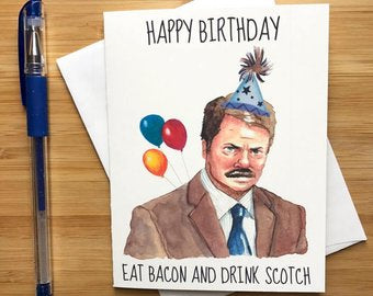 Ron Swanson  - Greeting Card