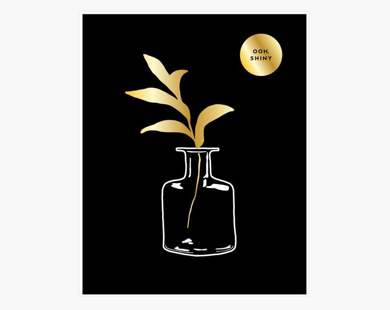 Gold Foil Square Vase - Art Print