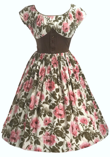 1950s California Cottons Rose Print Dress- New! (RESERVED)
