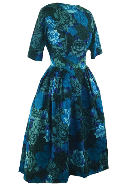 Late 1950s Early 1960s Blue Roses Designer Dress- New! (ON HOLD)