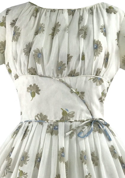 Vintage 1950s Blue Daisy Border Print Cotton Dress - New!