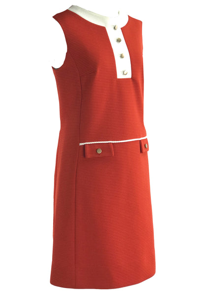 1960s Red and White Designer Dress Ensemble- New!