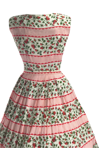 Late 1950s Early 1960s Rosebuds and Stripes Dress - New!