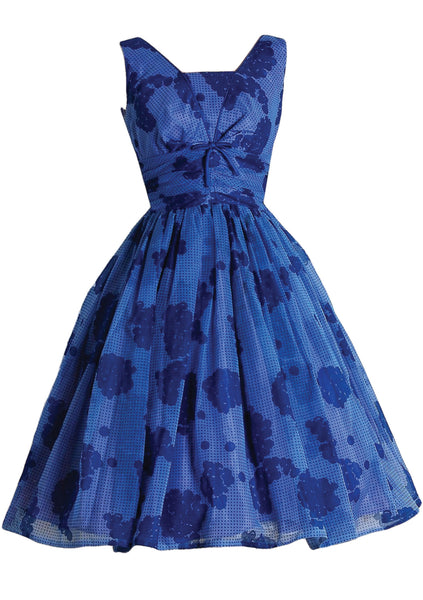 Vintage 1950s Royal Blue Abstract Roses Party Dress - New! (LAYAWAY)