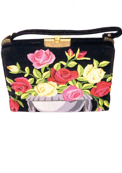 Outstanding 1950s Extra Large Roses Tapestry Handbag- New