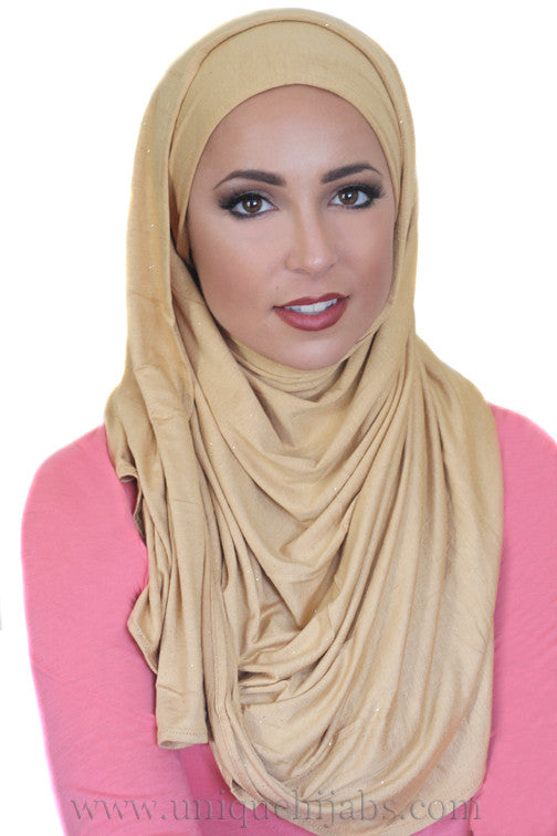 Shimmer Jersey Hijab-Gold