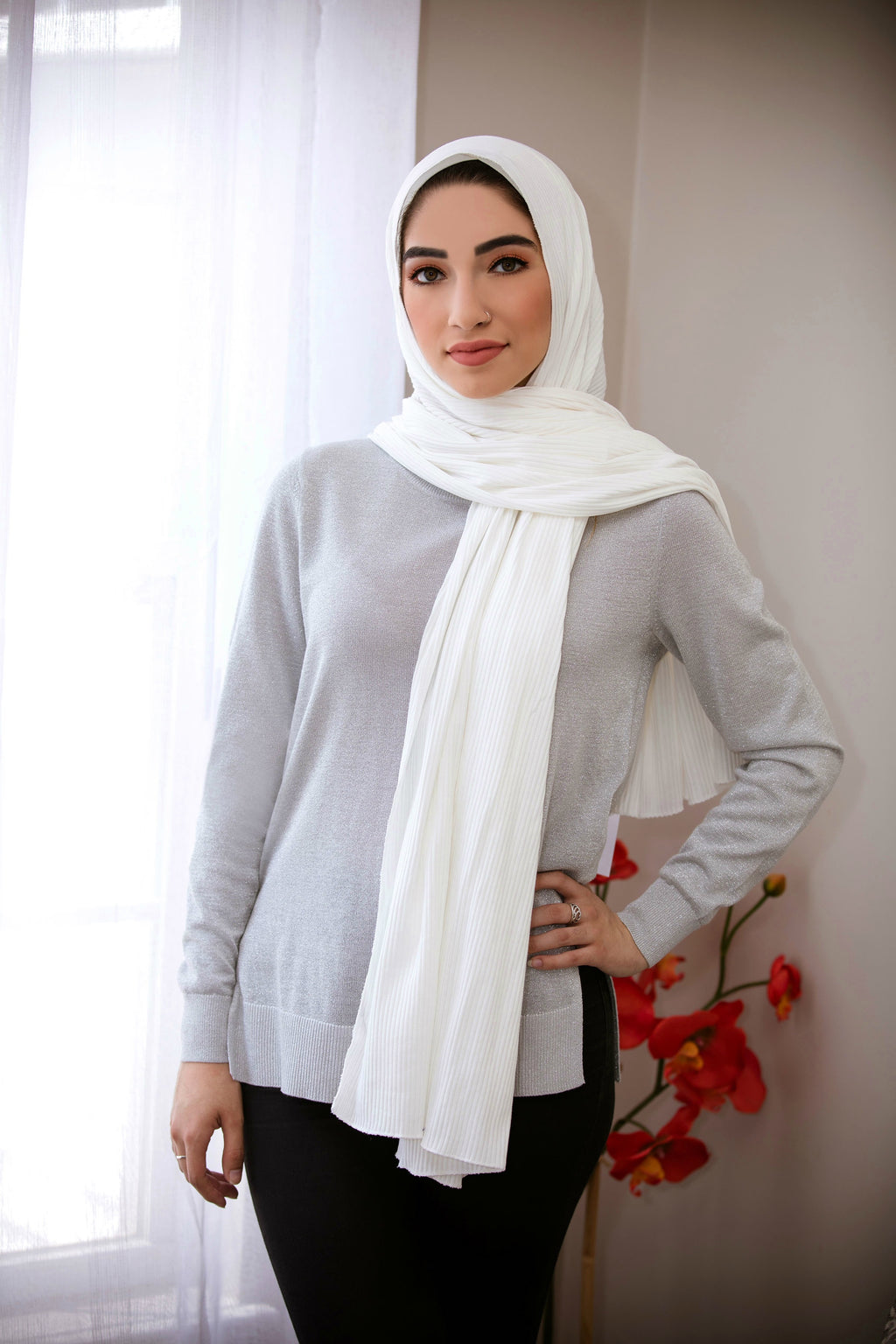 Ribbed Jersey Hijab-White