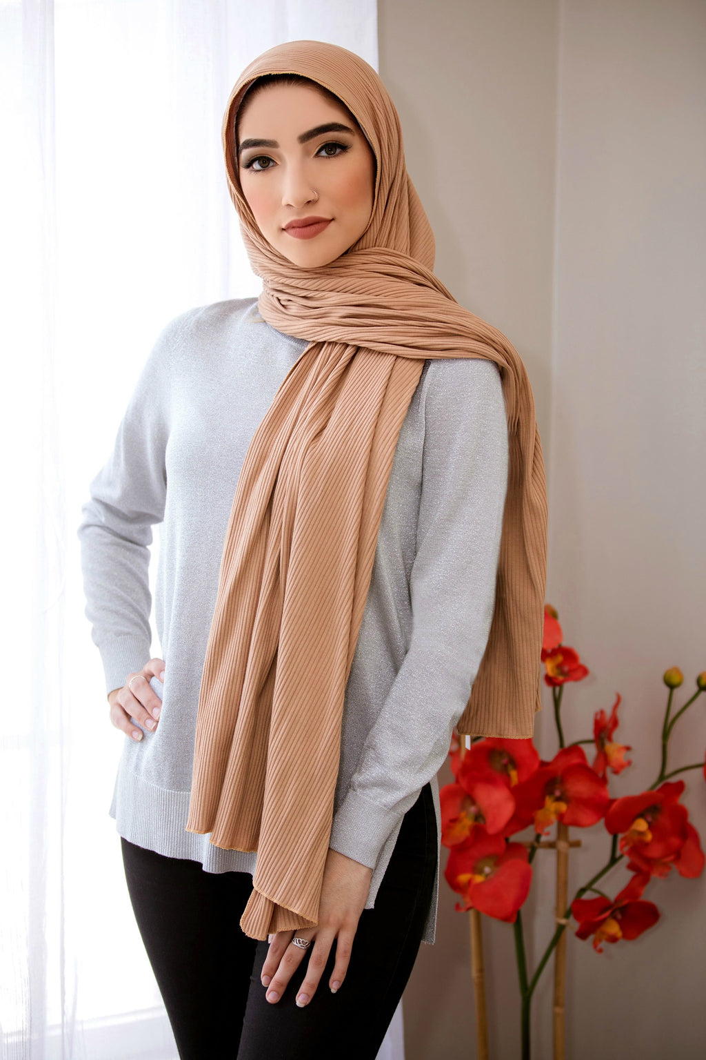 Ribbed Jersey Hijab-Tan
