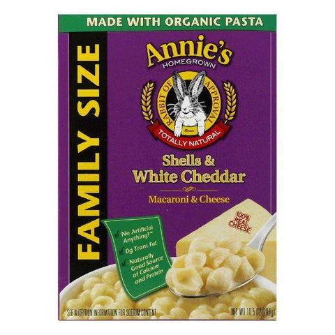 Annies Homegrown White Cheddar Shells Family Size, 10.5 OZ (Pack of 6)