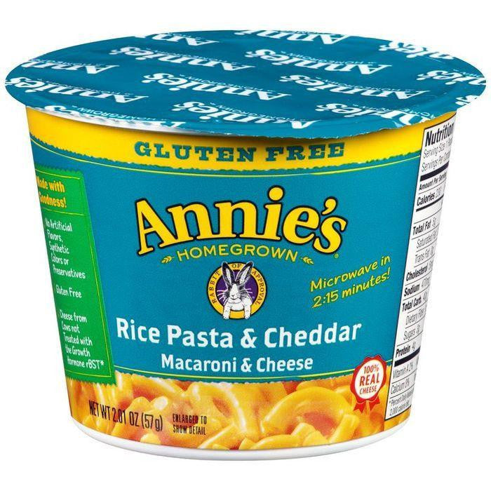 Annie's Homegrown Gluten Free Rice Pasta & Cheddar Macaroni & Cheese 2.01 Oz Microcup (Pack of 12)