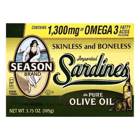 Season in Pure Olive Oil Skinless and Boneless Sardines, 3.75 OZ (Pack of 12)