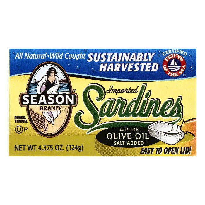Season in Pure Olive Oil Imported Sardines, 4.375 OZ (Pack of 12)