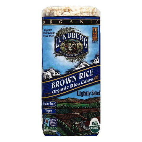 Lundberg Gluten Free Rice Cakes Organic Low Salt Brown, 8.5 OZ (Pack of 12)