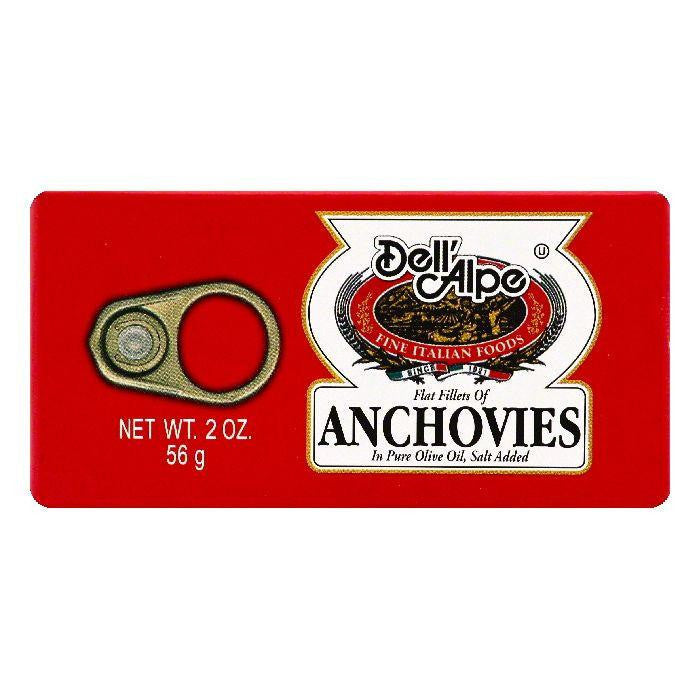 Dell Alpe Flat Fillets Anchovies, 2 OZ (Pack of 25)
