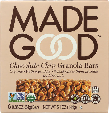 MadeGood Chocolate Chip Granola Bars, 5.1 Oz (Pack of 6)