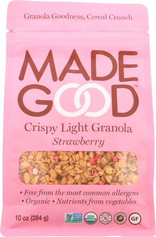 MadeGood Crispy Light Granola Strawberry Crunch, 10Oz (Pack of 8)
