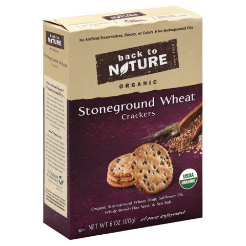 Back To Nature Stoneground Wheat Organic Crackers, 6 Oz (Pack of 6)