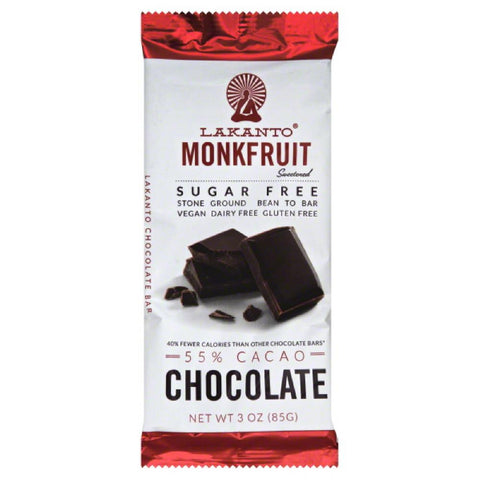 Lakanto 55% Cacao Sugar Free Monkfruit Chocolate Bar, 3 Oz (Pack of 8)