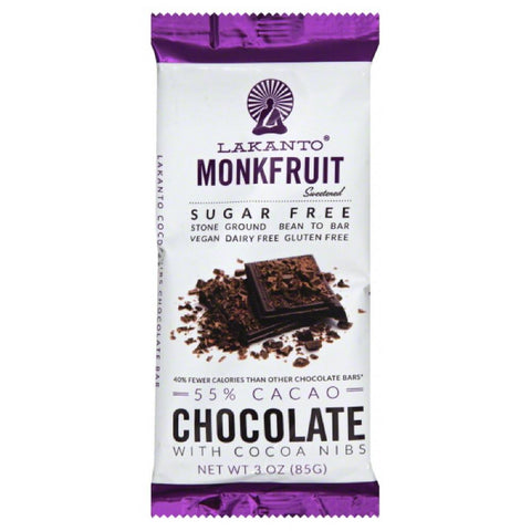 Lakanto 55% Cacao Sugar Free Monkfruit with Cocoa Nibs Chocolate Bar, 3 Oz (Pack of 8)