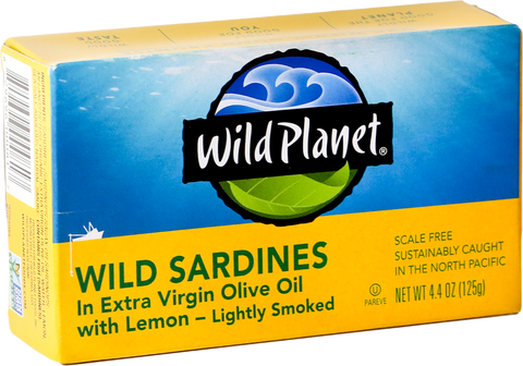 Wild Planet Wild Sardines in Extra Virgin Olive Oil with Lemon, 4.4 Oz (Pack of 12)
