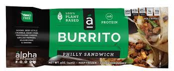 Alpha Foods Vegan Philly Sandwich Burrito, 5 Oz (Pack of 12)