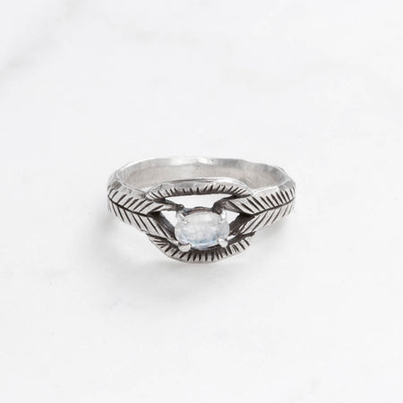 Moonstone deco ring - silver