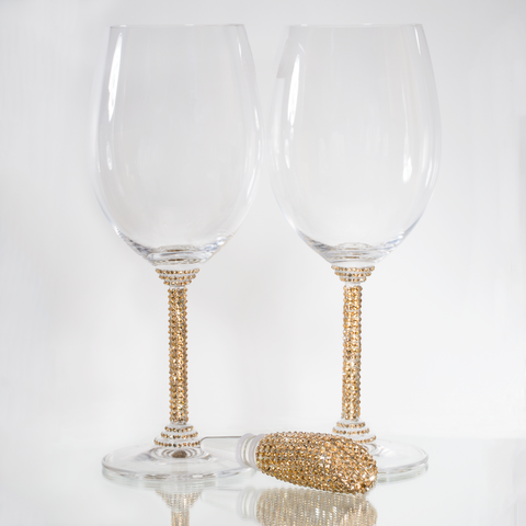 Wine Glasses & Stopper frosted by Harriet & Hazel with Swarovski Crystals - Harriet & Hazel  - 1