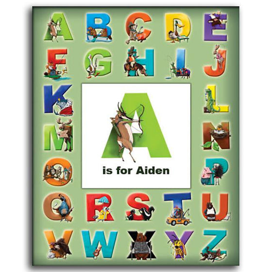 Personalized wall decor for kids room of the alphabet and animals for each letter - Personal-Prints