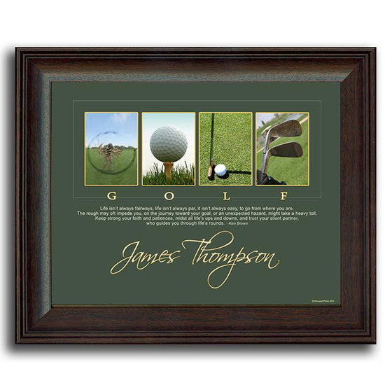 "Framed Golf Art - Personalized gift for the golfer with inspirational quote ""Lifes Rounds"""