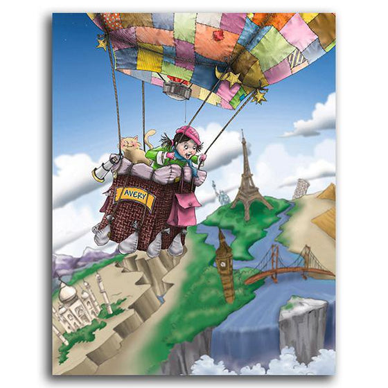 Canvas art for kids featuring an air balloon ride - Personal-Prints