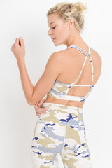 Pastel Striped Camo Sports Bra