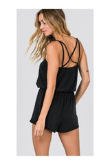 STRAPPY SLEEVELESS ROMPER W DRAWSTRING WAIST
