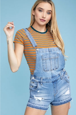 DESTROYED DENIM OVERALL SHORTS
