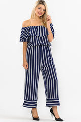 STRIPED OFF SHOULDER RUFFLED TOP MAXI JUMPSUIT
