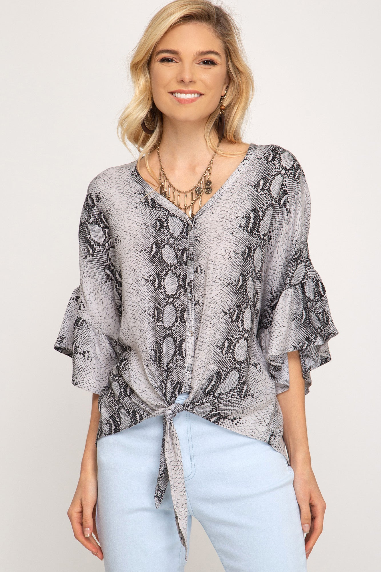 3/4 Sleeve Snake Skin Top